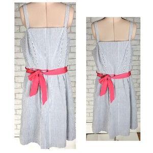 Crown & Ivy Seersucker Sleeveless Pocket Dress 14